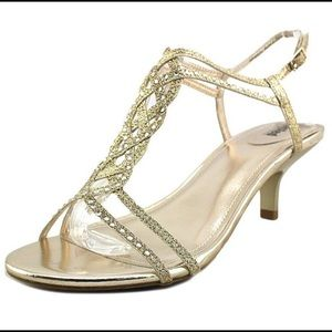 Metallic Gold braided sandals with kitten heel